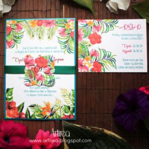 zaproszenia slubne w tropikalny wzor kwiatowe