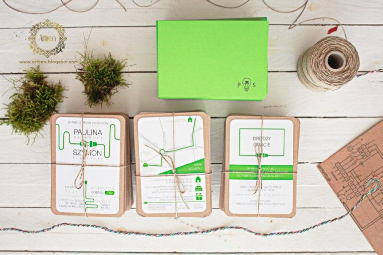nietypowe oryginalne nowoczesne zaproszenia śłubne w kolorze zielonym artirea