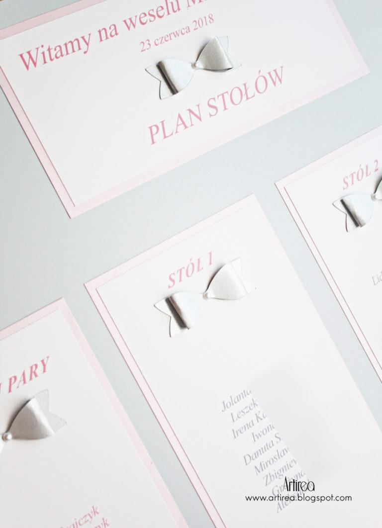 eleganckie srebrne i rozowe dodatki weselne menu numeracja winietki