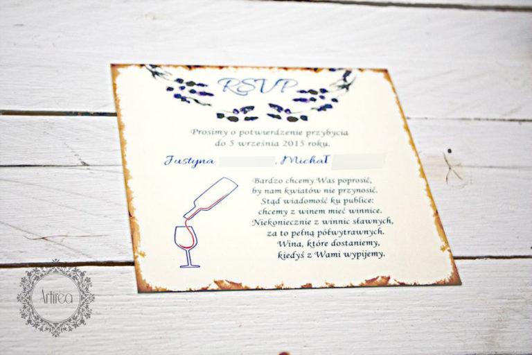 lawenowe zaproszenia slubne rustykalne akologiczne artirea