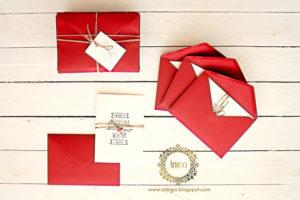bialo czerwonw bordowe zaproszenia slubne ze sznurkiem rutykalne