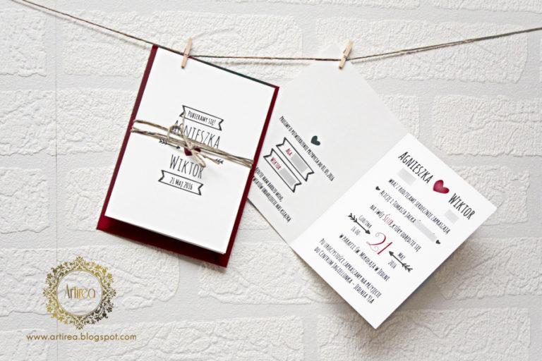 bialo czerwone zaproszenie slubne z sercem i sznurkiem artirea