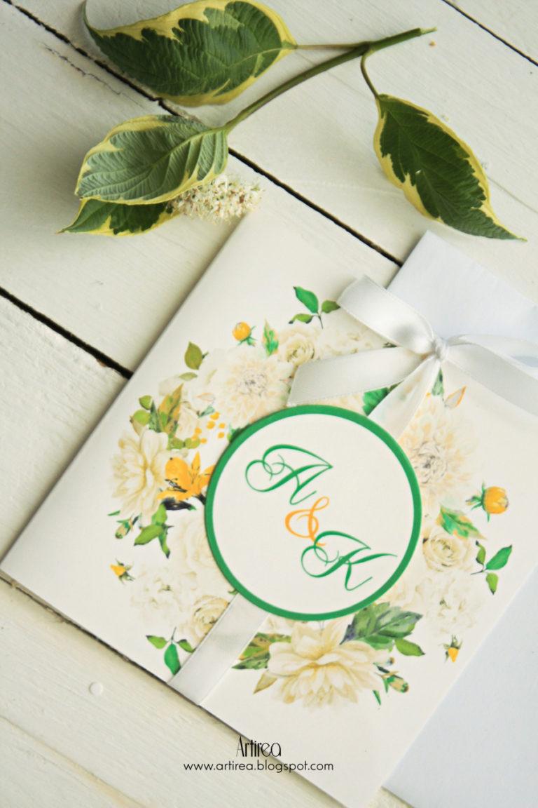 delikatne bialo zielone zaproszenia slubne w kwiaty z kokarda artirea
