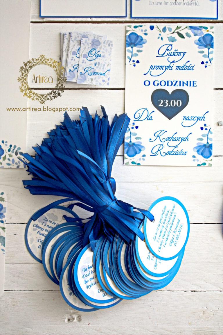 dodatki weselne w kolorze niebieskim