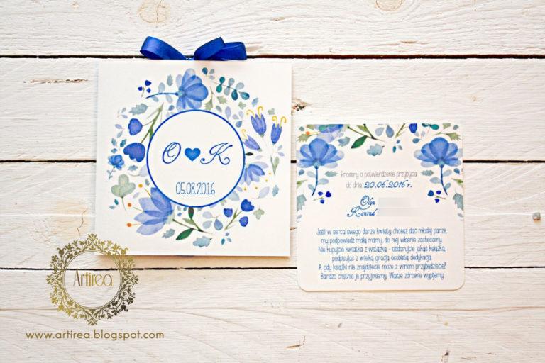 oryginalne niebieskie akwarelowe zaproszenia slubne kwiatowe artirea