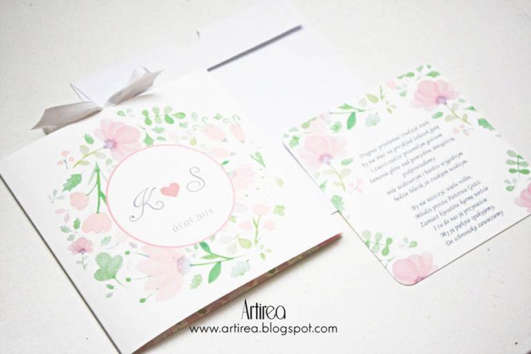 delikatne pudrowo rozowe zaproszenie slubne artirea akwarelowe kwiatowe