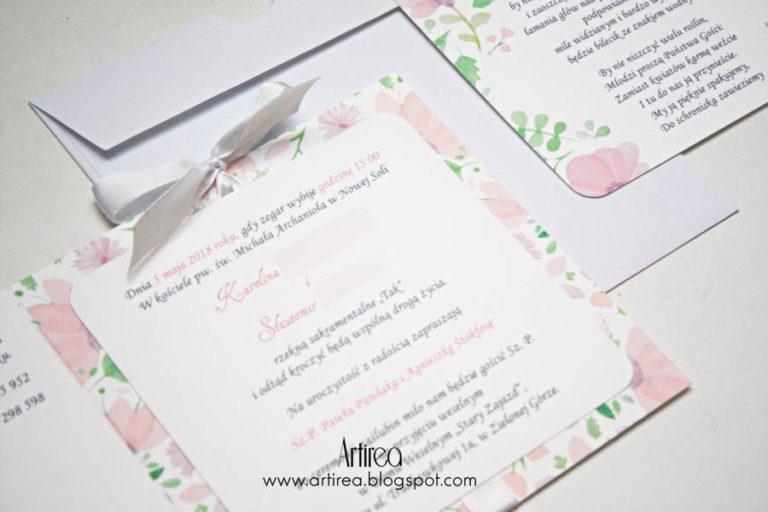 pudrowo rozowe zaproszenie slubne artirea akwarelowe kwiatowe