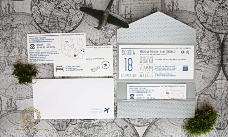 podroznicze zaproszenia slubne bilet lotniczy srebrne artirea