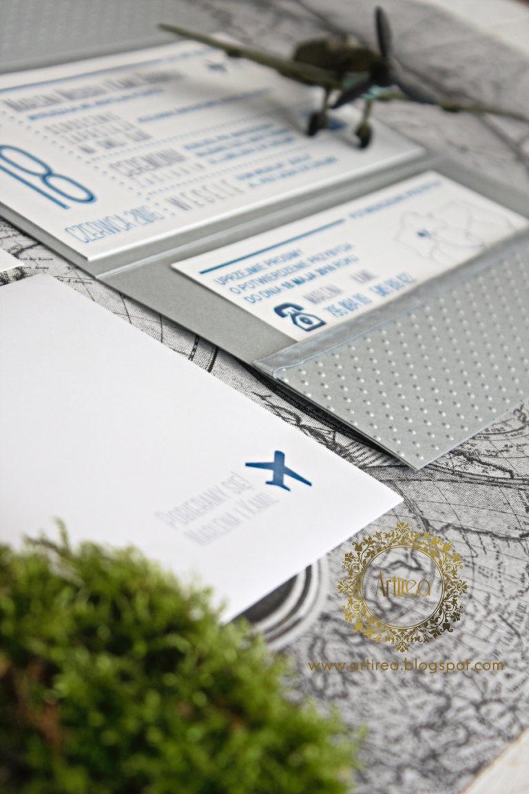 Aviator Zaproszenia ślubne Oryginalne Nietypowe Nowoczesne