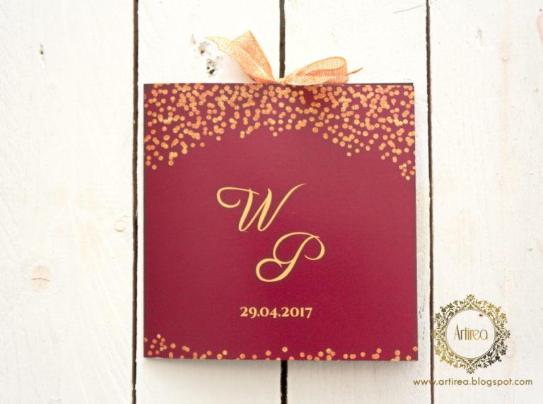 bordowo zlote zaproszenia slubne eleganckie z brokatowa wstazka artirea