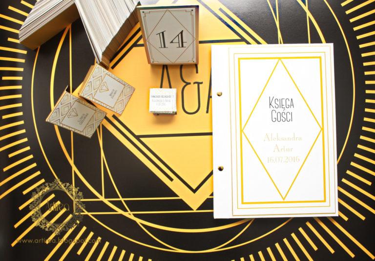 eleganckie dodatki ślubne art deco biało złote artirea