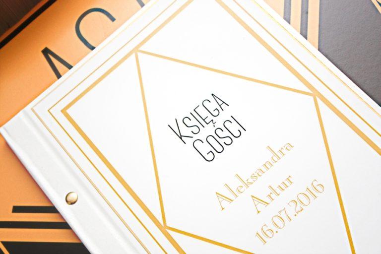 art deco złoto biała księga gości artirea