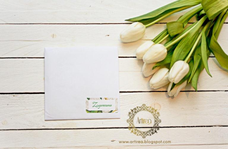 bialo zielone wiosenne zaproszenia slubne zmotywem bialych tulipanow artirea