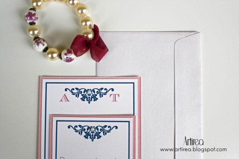 eleganckie granatowo rozowe zaproszenie slubne artirea