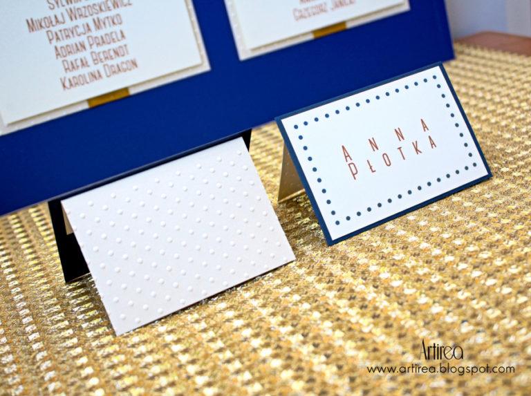 eleganckie granatowo zlote dodatki slubne zawieszki menu winietki weselne artirea