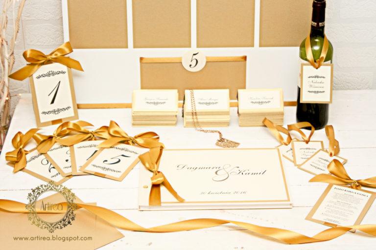 elegancka klasyczne bialo zlota ksiega gosci weselnych artirea