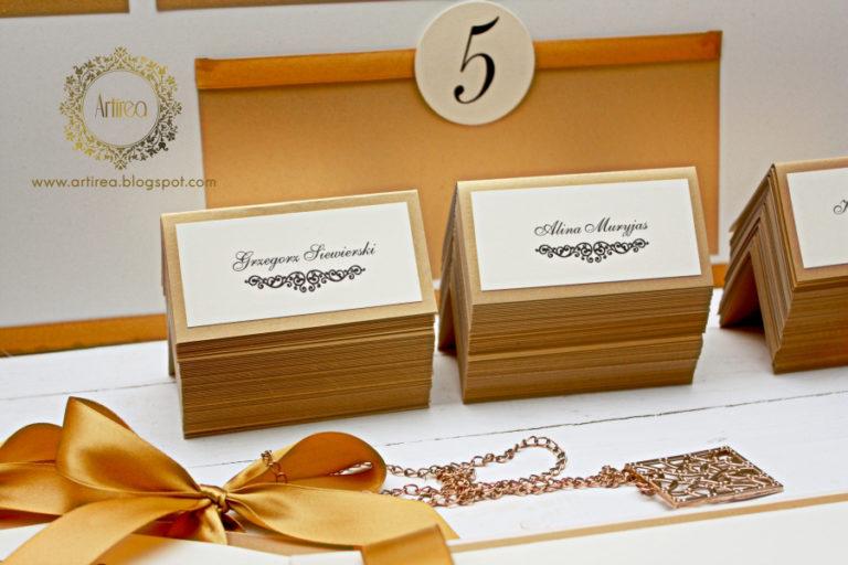 eleganckie klasyczne bialo zlote winietki weselne artirea