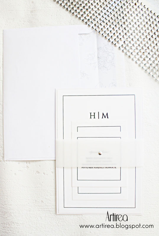 biale nowoczesne minimalistyczne zaproszenia slubne jednokartkowe artirea
