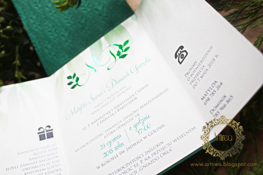 botaniczne eleganckie oryginalne zaproszenia slubne w kolorze butelkowej zieleni