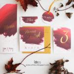 jesienne bordowo zlote burgundowe zaproszenia slubne oryginalne artirea
