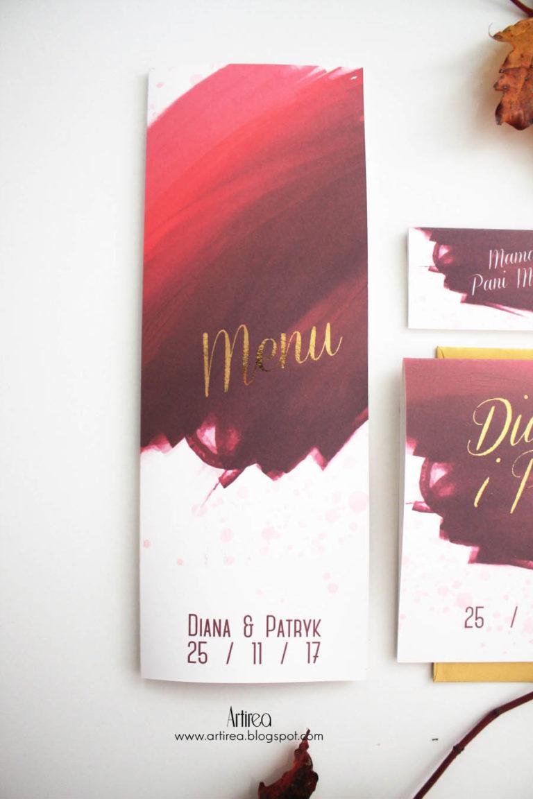 burgund i zloto pozlacane menu weselne