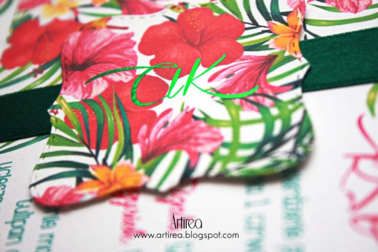 kolorowe kwiatowe zaproszeni slubne pozlacane z motywem tropikalnych kwiatow artirea