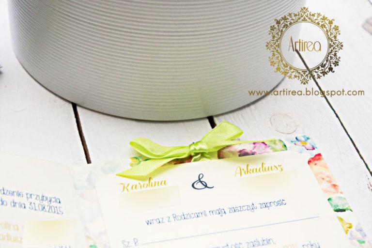 kwiatowe kolorowe kwadratowe zaproszenia slubne z kokarda artirea limonkowe