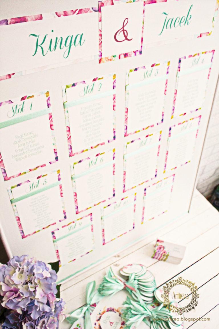 plan stolow usadzeni gosci w kolorze mietowym w motywem kwiatow artirea