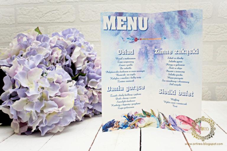 menu weselne w stylu boho oryginalne artirea