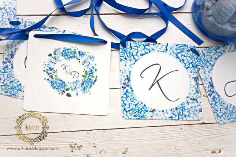 napis na wstazce wesele niebeiski hortensja artirea