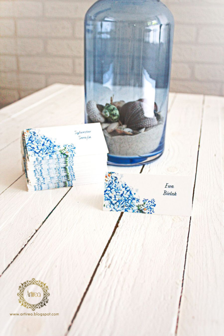 winietki weselne niebieska hortensja artirea