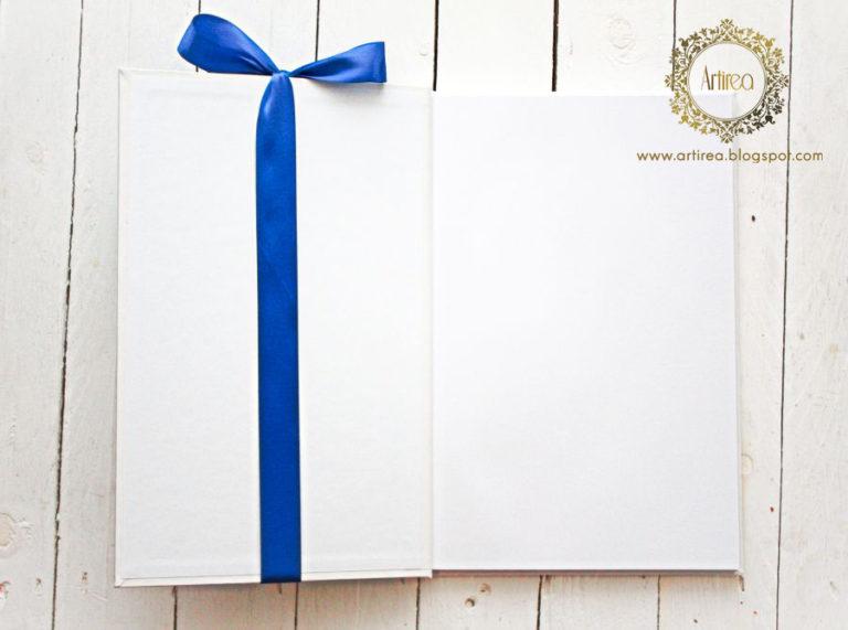 niebieskia księga gości na slub z wstazka z motywem hostensji artirea