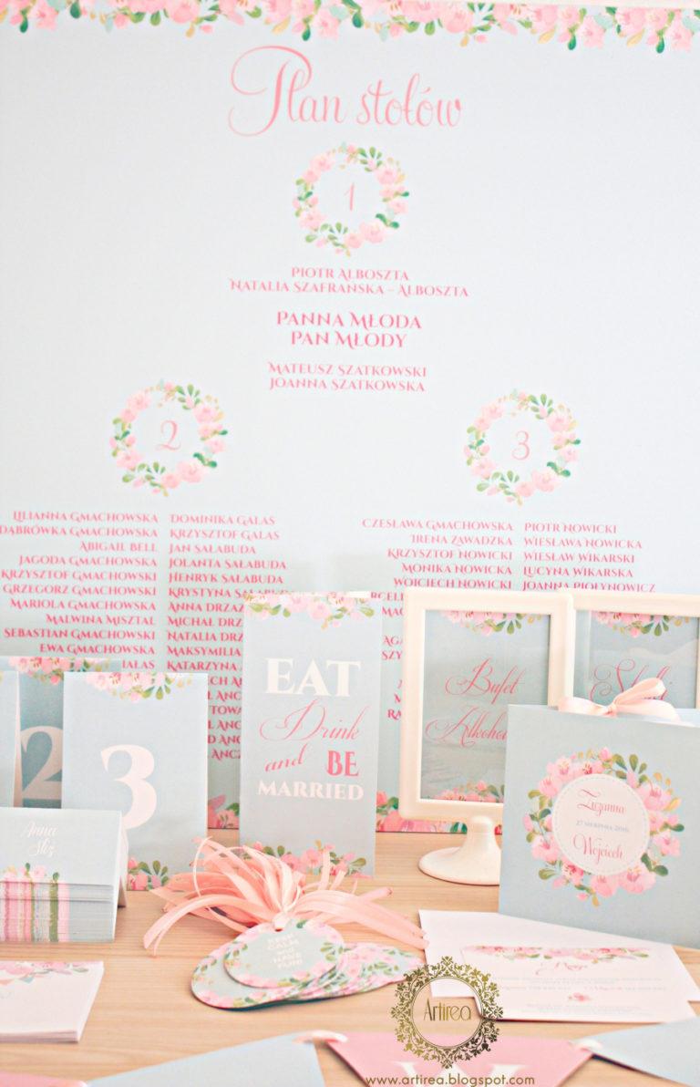 delikatne mietowe pastelowe pudrowo rozowe zaproszenia slubne artirea