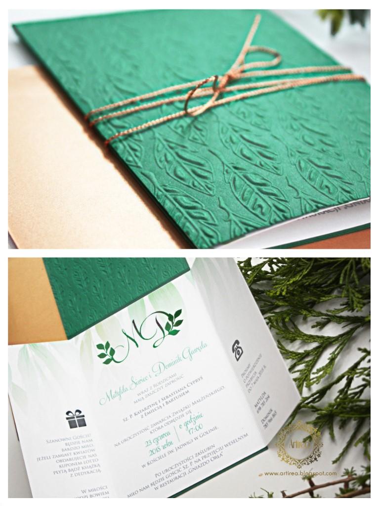 oryginalne recznie tloczone folderowe zaproszenia slubne botaniczne zielone pozlocone artirea