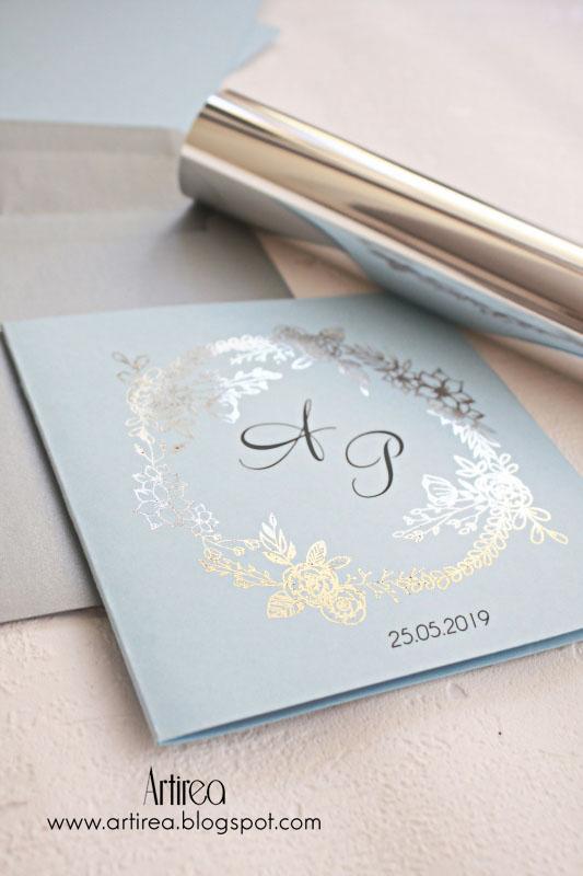 srebrne zaproszenia slubne