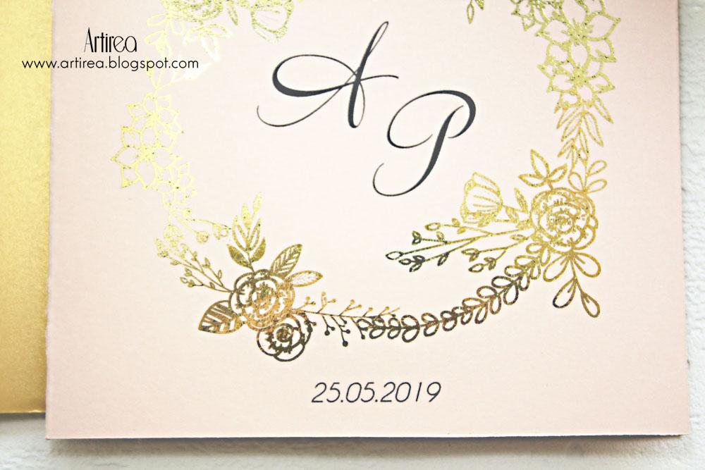 pozlacane pudrowo rozowe zaproszenia slubne nowoczesne eleganckie artirea