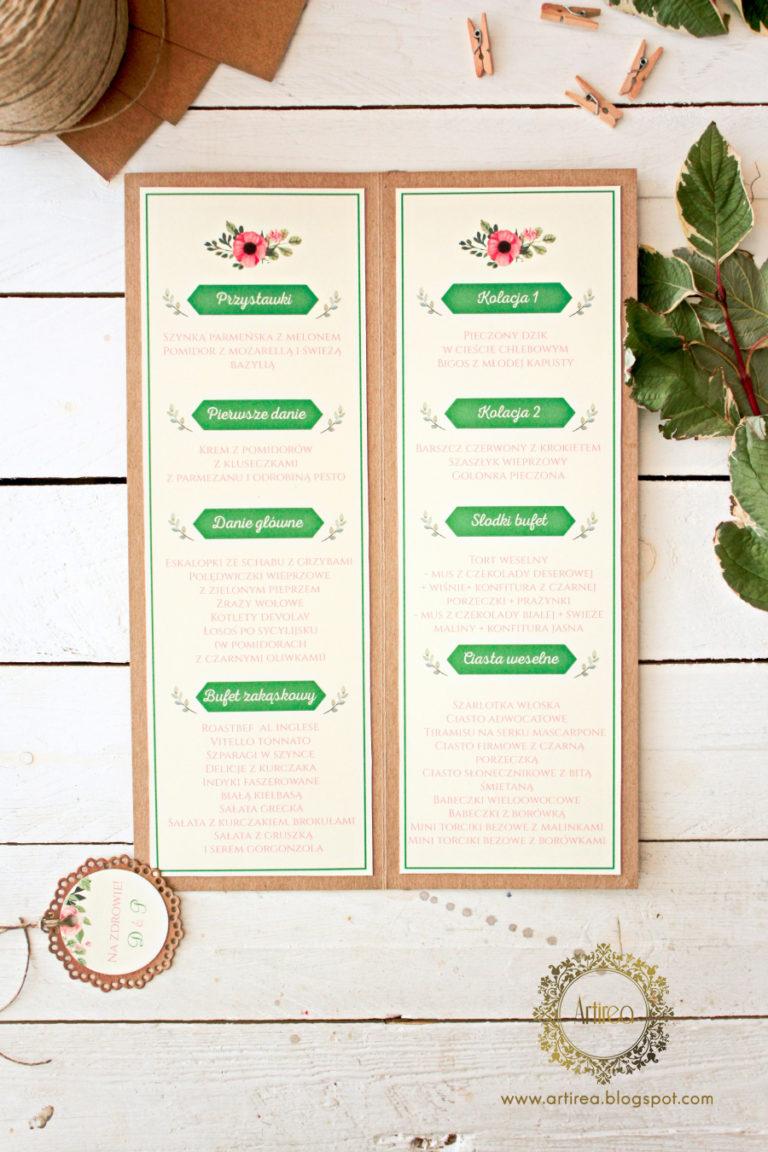 rustykalne menu weselne papeteria slubna artirea