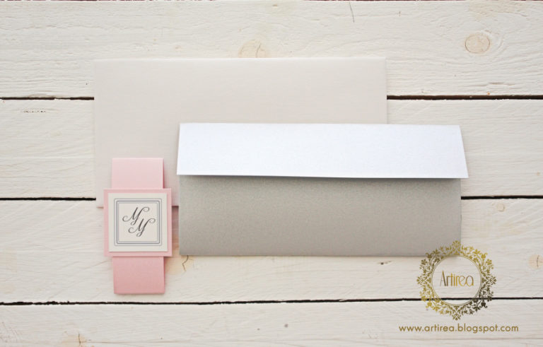 eleganckie srebrno rozowe prostokatne zaproszenia slubne artirea