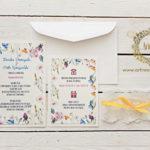 rustykalne sielskie zaproszenia slubne w polne kwiaty z koronka artirea