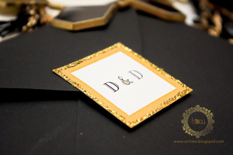 eleganckie bialo czarne zaproszenia slubne w stylu great gatsby art deco artirea