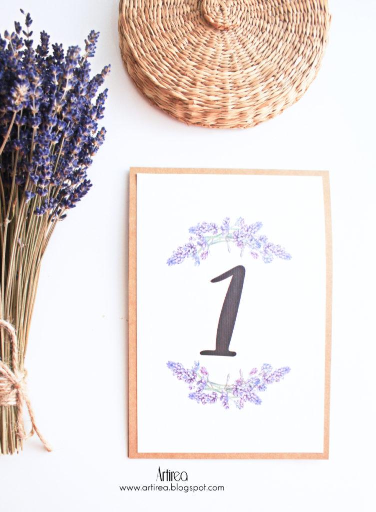 rustykalna numeracja stolika z lawenda artirea