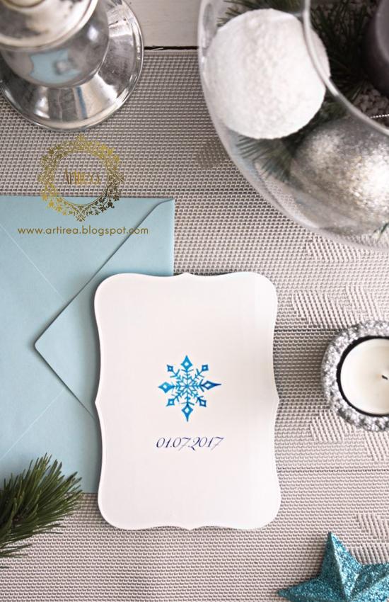 oryginalne prostokątne zimowe zaproszenia slubne artirea
