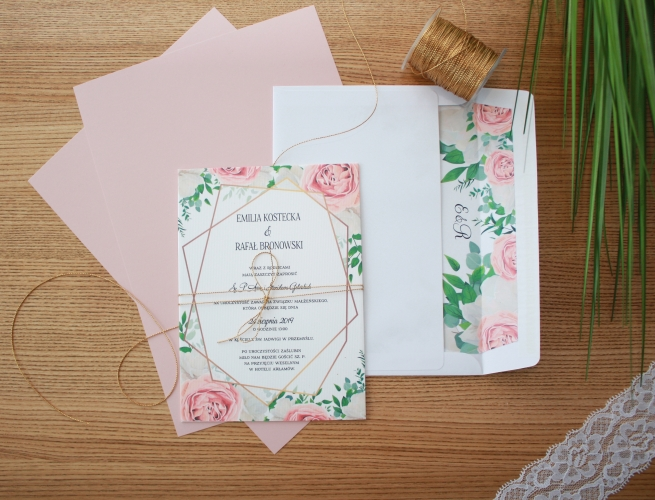 pastelowe rozowe zaproszenia slubne