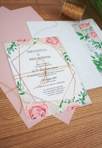 Pastelowe Róże Zaproszenia ślubne Oryginalne Nietypowe