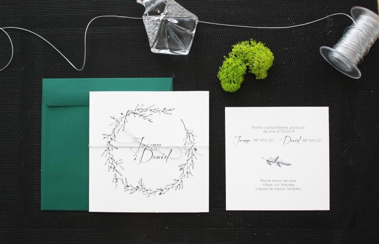 kwadratowe minimalistyczne zaproszenia ślubne botaniczne z motywem galazek recznie malowane oryginalne artirea
