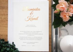 jednokartkowe minimalistyczne nowoczesna zaproszenia slubne pozlacane biało złote copper rose gold miedz oryginalne artirea