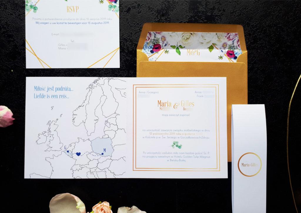 podroznicze zaproszenia slubne mapa europy