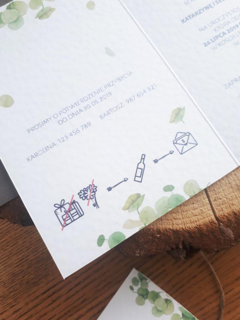 zaproszenia slubne z eukaliptusem botaniczne rustykalne artirea