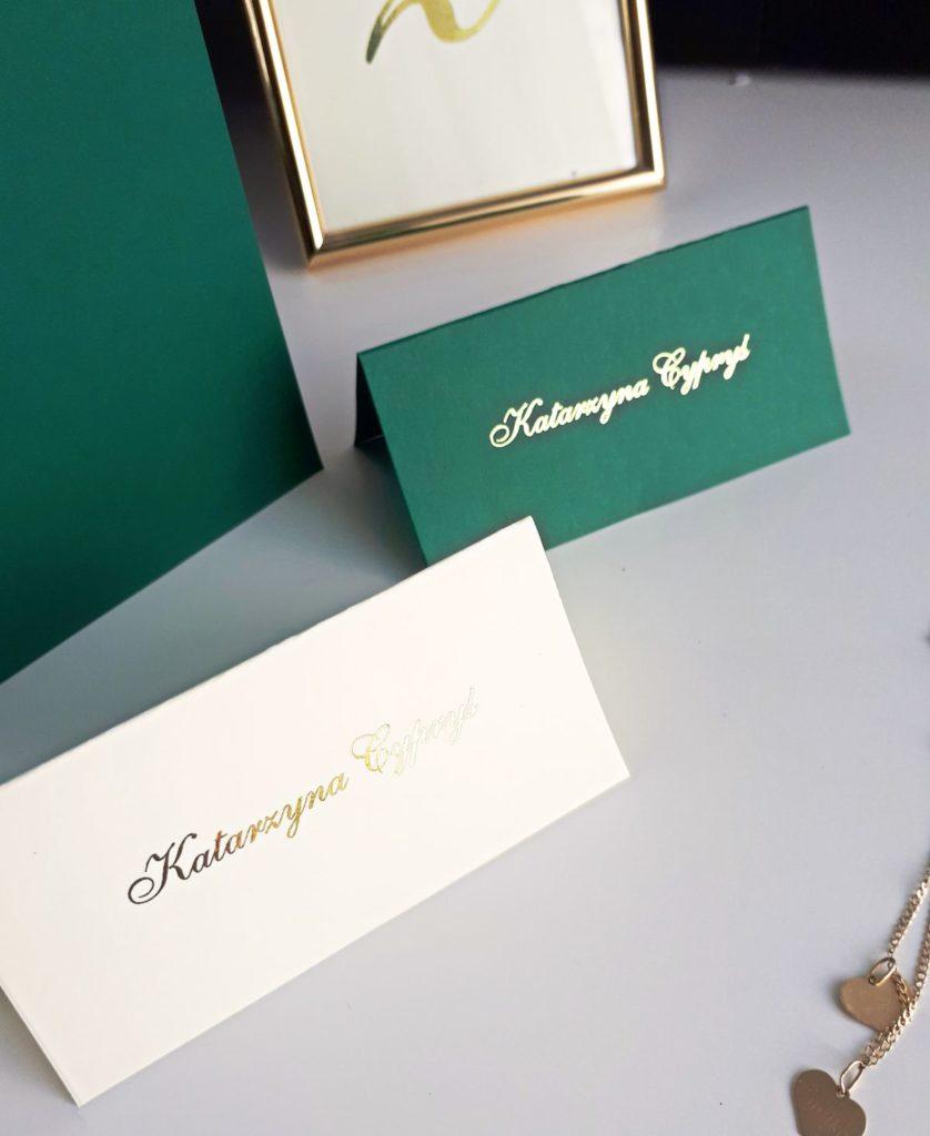 eleganckie zielone pozlacane winietki weselne