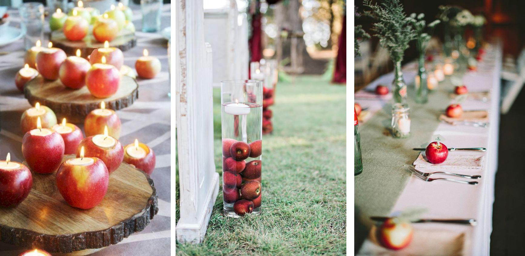 jablka dekoracja na slubie